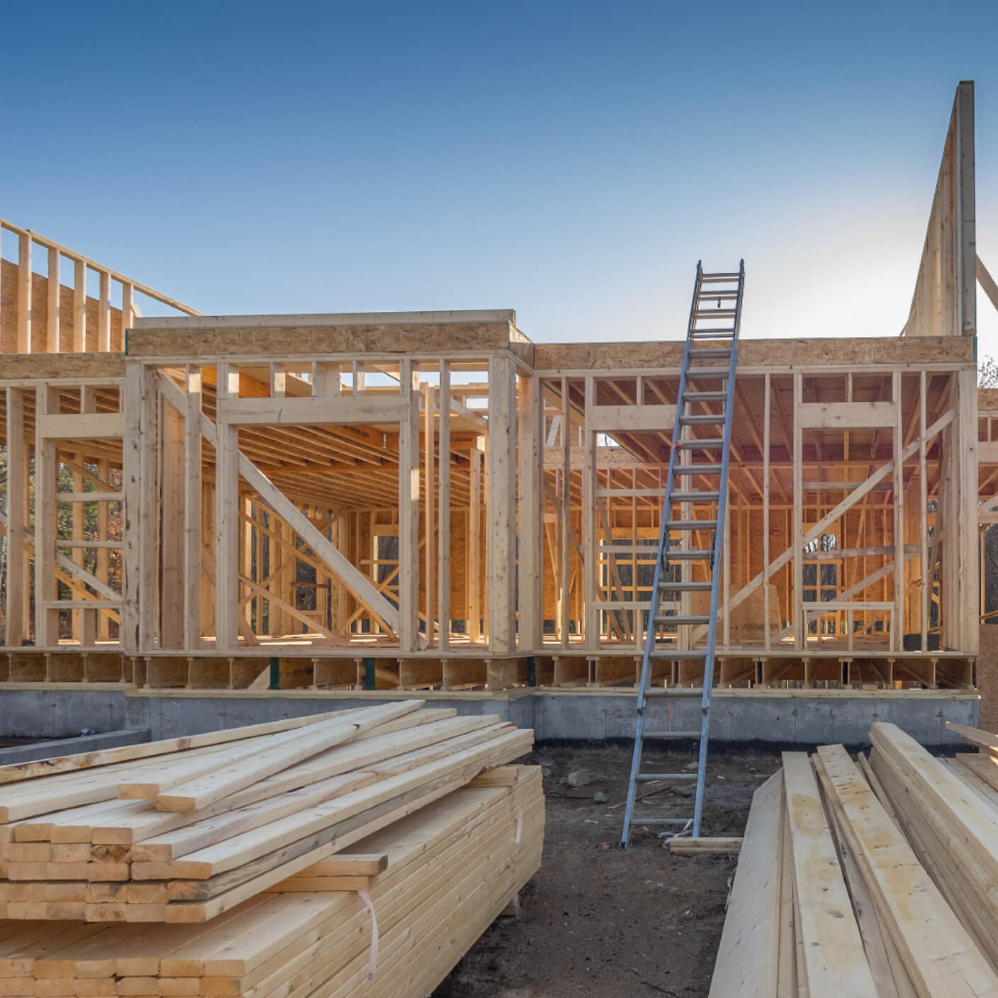 building the frame of a home