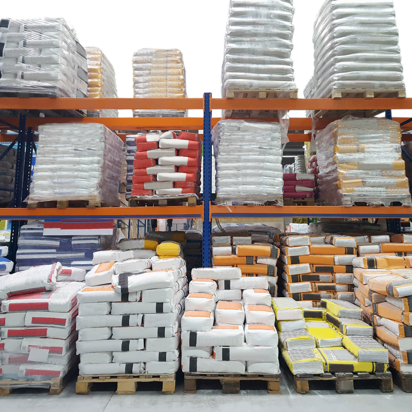 building materials at a distribution centre