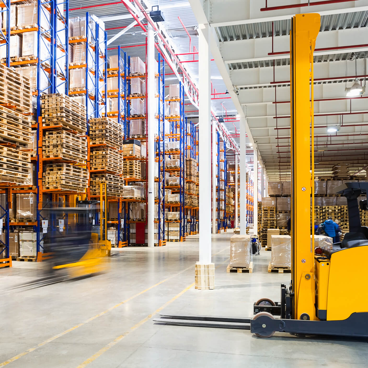 manufacturing warehouse with forklift